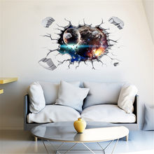 3D Galaxy Planets Wall Stickers Waterproof PVC Wallpaper Removable Living Room Decal Home Art Three-dimensional Ceiling Decor(China)
