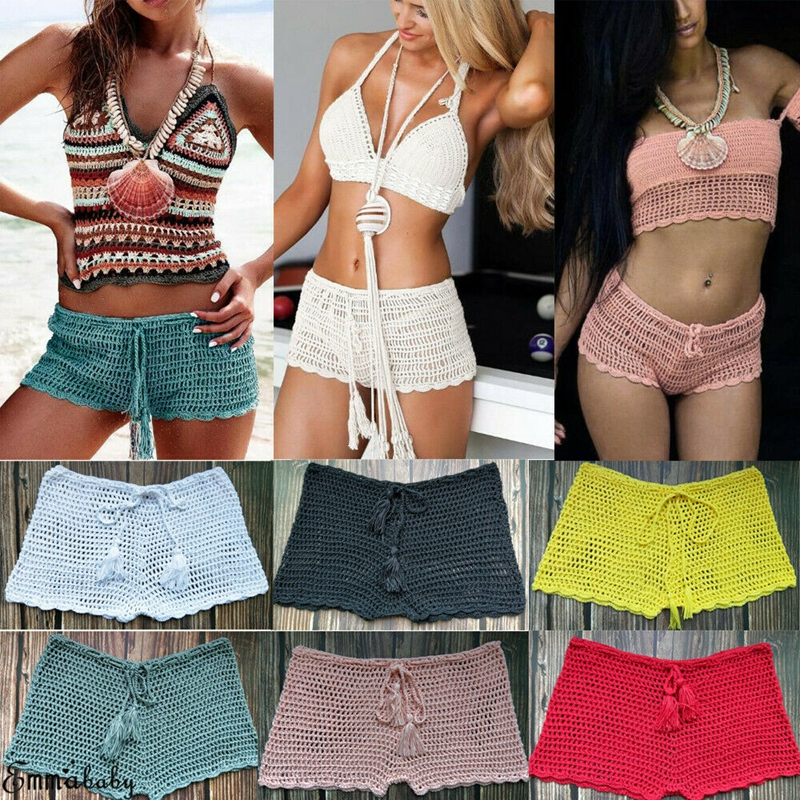 Women Sexy Swim Shorts Bottom Bikini See Through Hollow Crochet Beach Swimwear Hot Pants Summer Beach