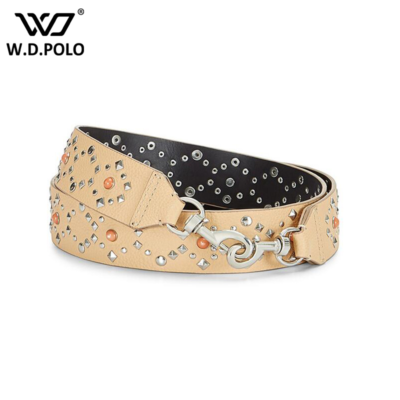 WDPOLO new fashion leather embroidery flower women handbags strap rivet design bags belts easy matching bags parts AA164 sorores semper new handbags strap women genuine leather belts embroidery bag parts cow leather accessory pj021