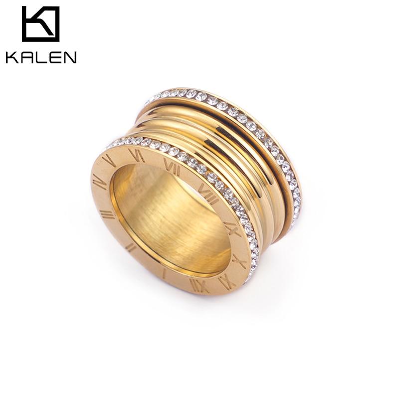 Kalen nouveau 3 couleurs en acier inoxydable Bague Femme à la mode cubique Zircon anneaux de mariage pour les femmes chiffres romains Anillos Mujer bijoux