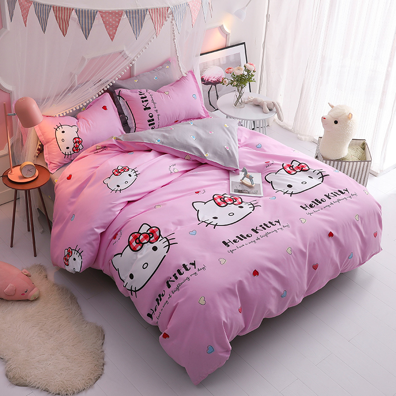 Branco rosa dos desenhos animados Olá Kitty Conjuntos de Cama Adultos Caçoa o Presente 3/4 pcs Roupa De Cama Rainha Completo Capa de Edredão Folha flst macio fronhas