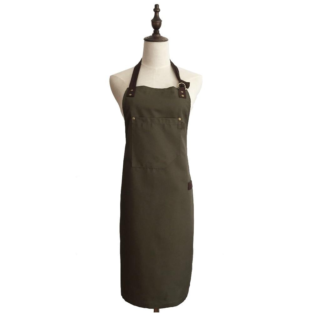 Retro Kitchen Apron Woman Men Canvas Apron With Pocket Painting / Coffee Shop/ Waiter/ Studio Denim Apron Custom Logo Green Army