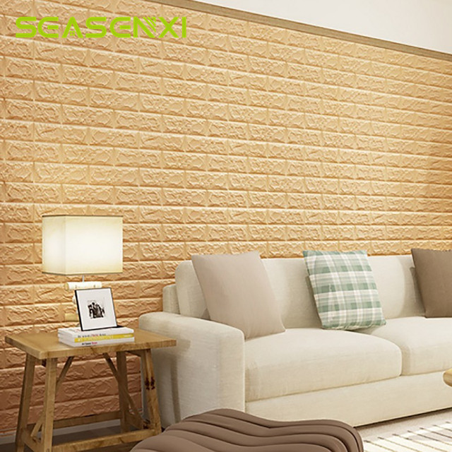 1pc Cream PE Foam 3D Wall Sticker Safty Home Wallpaper DIY Wall ...