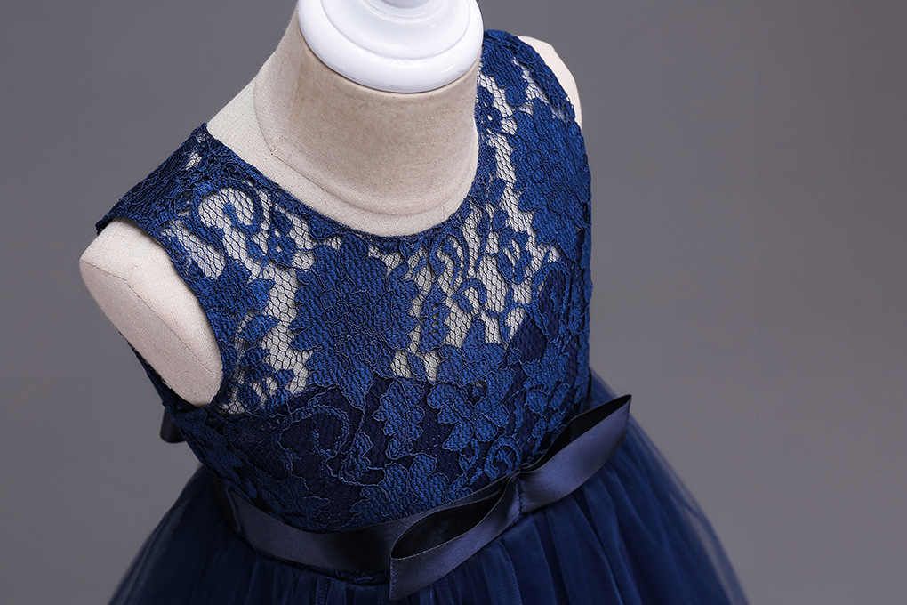 14de938490 Children Long Ball Gown Navy White Grey Lace Flower Girl Summer Clothes  Teenagers Girl Red Dresses for Junior Wedding Prom