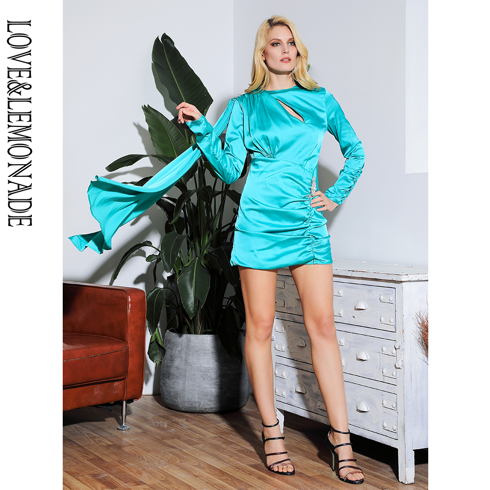 Sexy Green Round Neck Cut Out Back Streamer And Rhinestone Jewelry Decoration Long Sleeve Bodycon Party