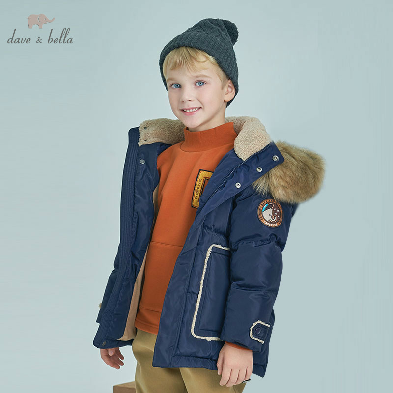 DBK8358 dave bella winter kids boys down jacket children white duck down padded coat kids hooded outerwear with big furDBK8358 dave bella winter kids boys down jacket children white duck down padded coat kids hooded outerwear with big fur
