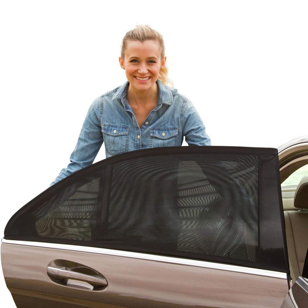 2 Pcs Summer UV Protection Car Rear Side Window Sun Shade Anti-mosquito Car Sun Shade Net Mesh Curtain For Sedan