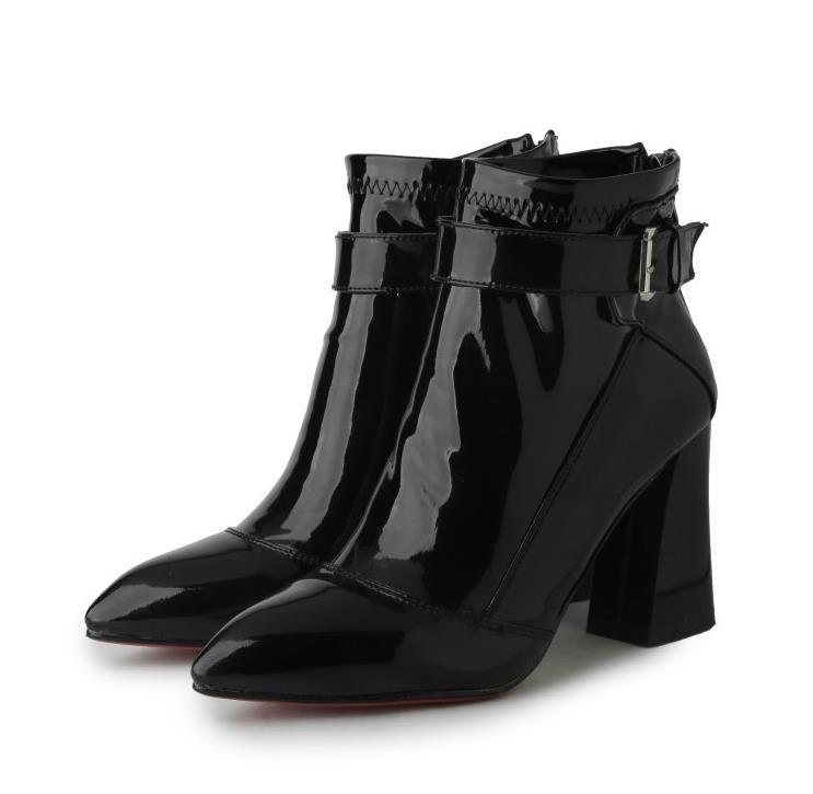 Otoño Tubo Los Y Europa Estados Con Tacones 2018 Tinto Negro Charol Señaló Sexy Zapatos Corto Unidos Primavera Rojo Inglaterra vino AOvnw