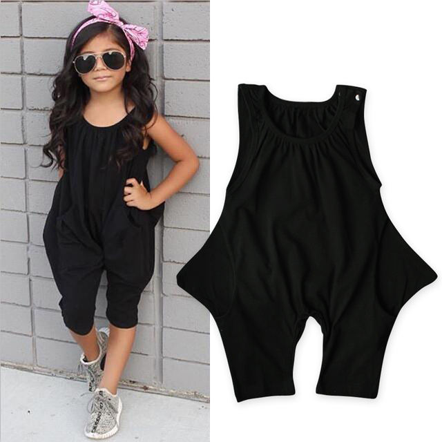1e825b89212e Rory Chen Solid Sleeveless Cotton Baby Girls Romper Jumpsuit Harem Trousers  Black Halter Pants Baby Girl Summer Clothes DS15