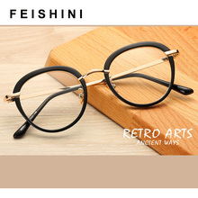 FEISHINI Transparent Frame Oval Glasses Women brand Clear Lens Eyewear frames Ladies Myopia Nerd PINK eyeglasses frame