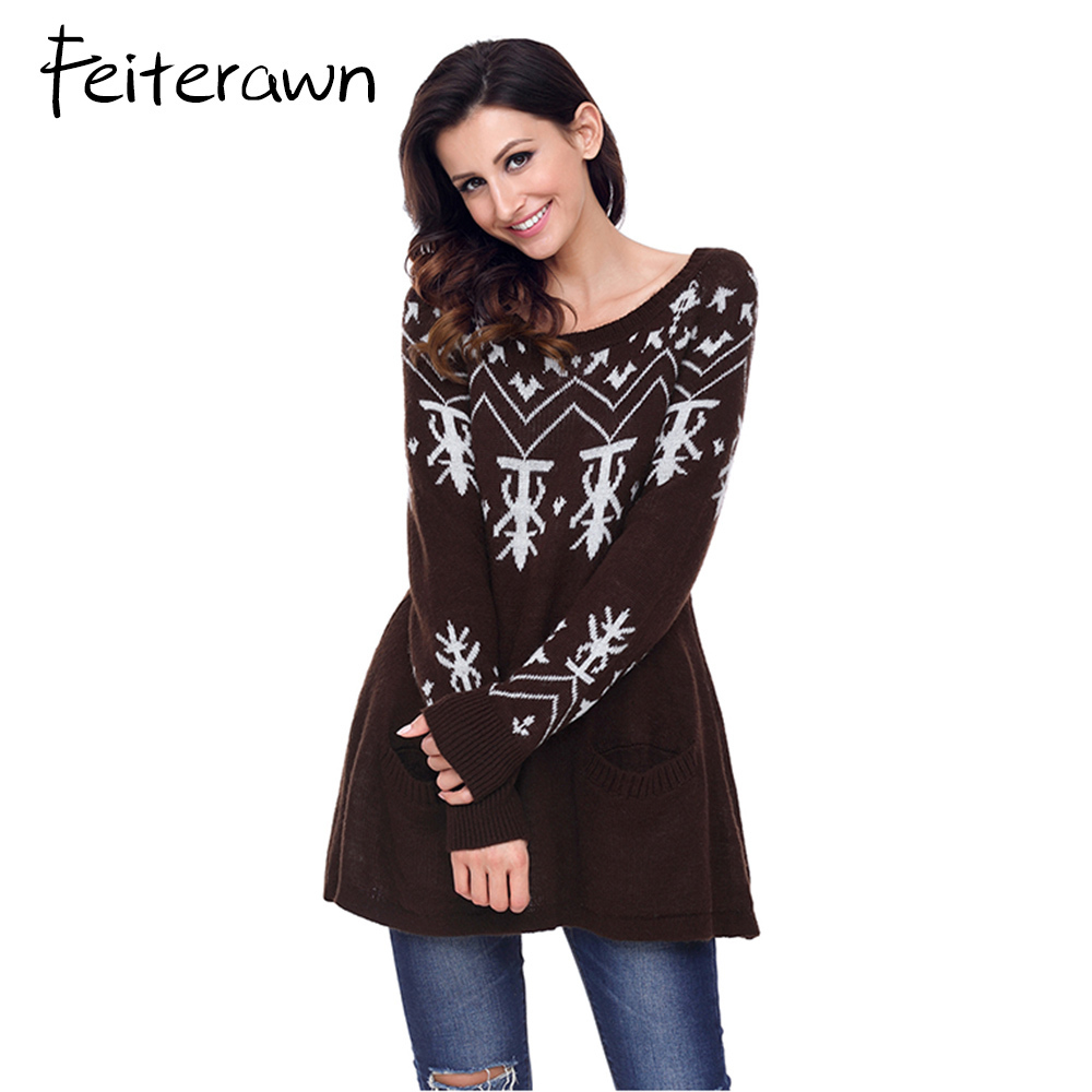 Feiterawn A-line Casual Fit Christmas Fashion Sweater for Women Scoop Neck Long Sleeve Pullover with Pocket Long Jumper Tops