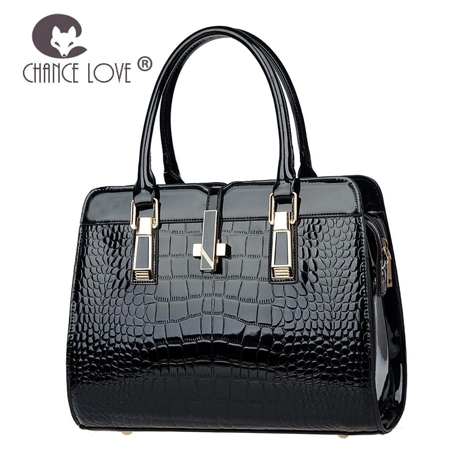 Chance Love 2018 new women's bag fashion Bright patent leather Handbags crocodile pattern Luxurious shoulder bag Messenger bag недорго, оригинальная цена
