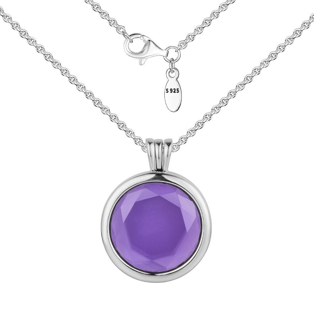 Подлинный 925 пробы Серебряный граненый медальон ожерелье модный кулон ожерелье для женщин DIY ювелирные изделия