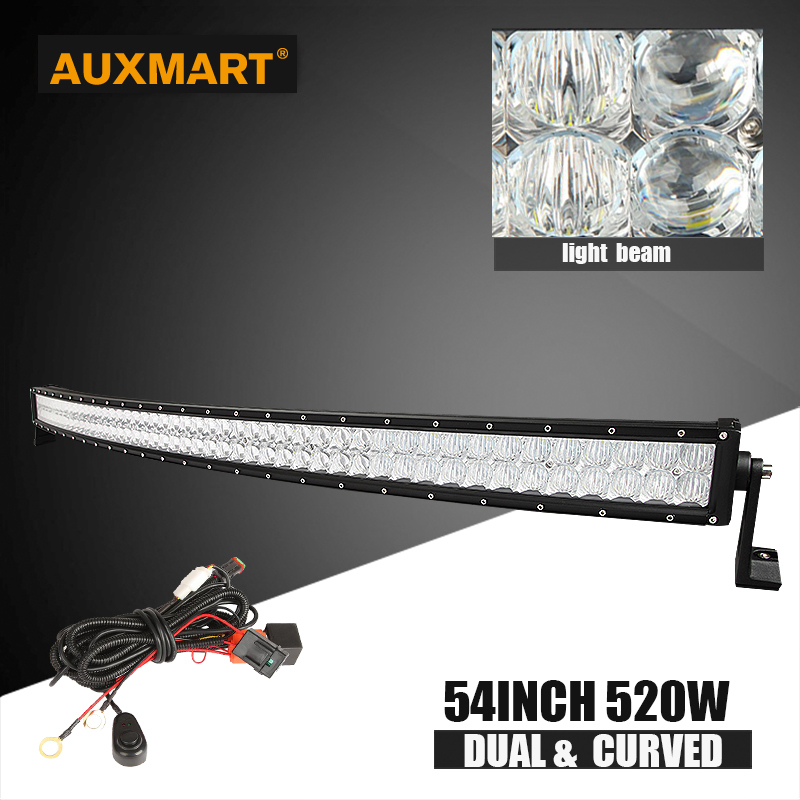 Auxmart 54inch 520w 5D CREE LED chips light bar curved combo beam Offroad bar light for camper trailer SUV ATV 4x4 4WD 12v 24v auxmart 42inch 400w cree 5d chips led light bar curved offroad combo beam 7inch 60w flood bar light suv atv 12v 24v 4x4 4wd 2wd