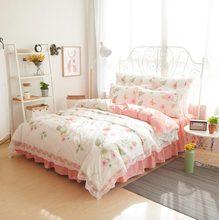 Vintage floral individual doble juego de cama para adultos adolescente de la muchacha, algodón full twin queen rey ropa de cama falda de la cama del edredón funda de almohada cubierta