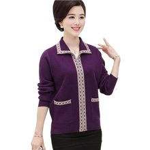 Middle aged ladies mom fitted Spring and winter massive measurement sweater cardigan within the aged thick sweater zipper jacket QH0406