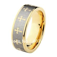 YGK 8mm Golden Pipe Cut Cross Tungsten Carbide Ring New Men's Wedding Band(China)