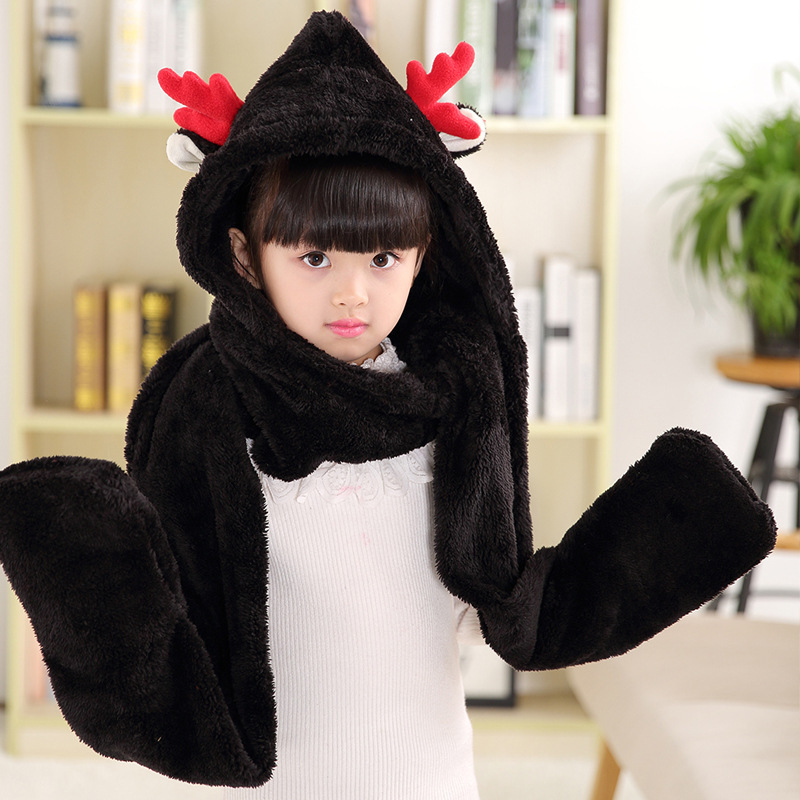 VOHIO Christmas gifts childrens scarves female cartoon thickened shawl male treasure deer plus cashmere long bib multi color