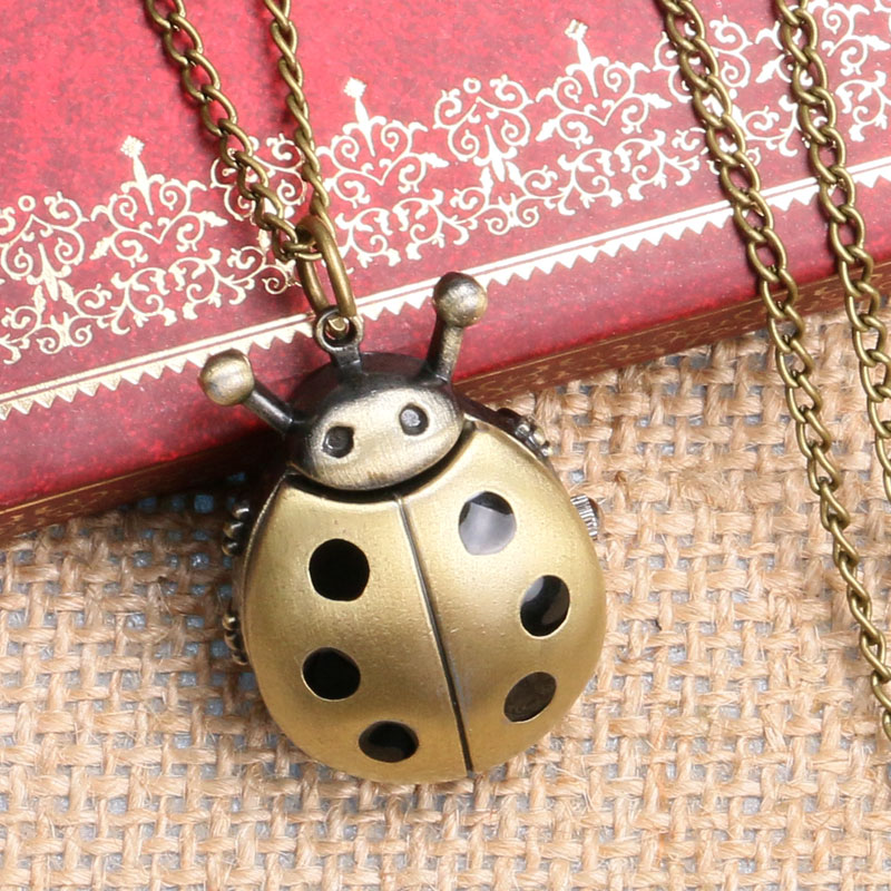 2016 New Bronze Ladybug Design Fob Pocket Watch With Necklace Chain To Kids Girls Women Children' Day Gift unique smooth case pocket watch mechanical automatic watches with pendant chain necklace men women gift relogio de bolso