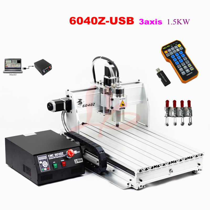 6040Z-USB 3axis with mach3 remote control CNC drilling and milling machine wood engraver 4 axis cnc machine cnc 3040f drilling and milling engraver machine wood router with square line rail and wireless handwheel