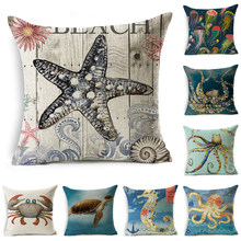 Smiry Bule Marine Line Pillow Cover Cartoon Octopus Sea Horse Printed Decorative Modern Sofa Chair Cushion Cover Pillow Case(China)