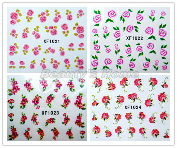 100 pcs/lot can choose water transfer self-Adhesive  nail designs Nail Stickers decals Nail Art Flowers free shipping#1503
