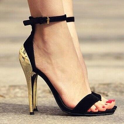 Hot selling OL lady trendy zwart suede desinger sandalen golden metalen hak lovertjes jurk schoenen vrouw mode contrast kleur hoge