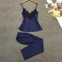 Lisacmvpnel Soft Breathable Women Pajamas Rayon Spaghetti Strap Nightdress Long Style Pant Set Casual Women Pajama