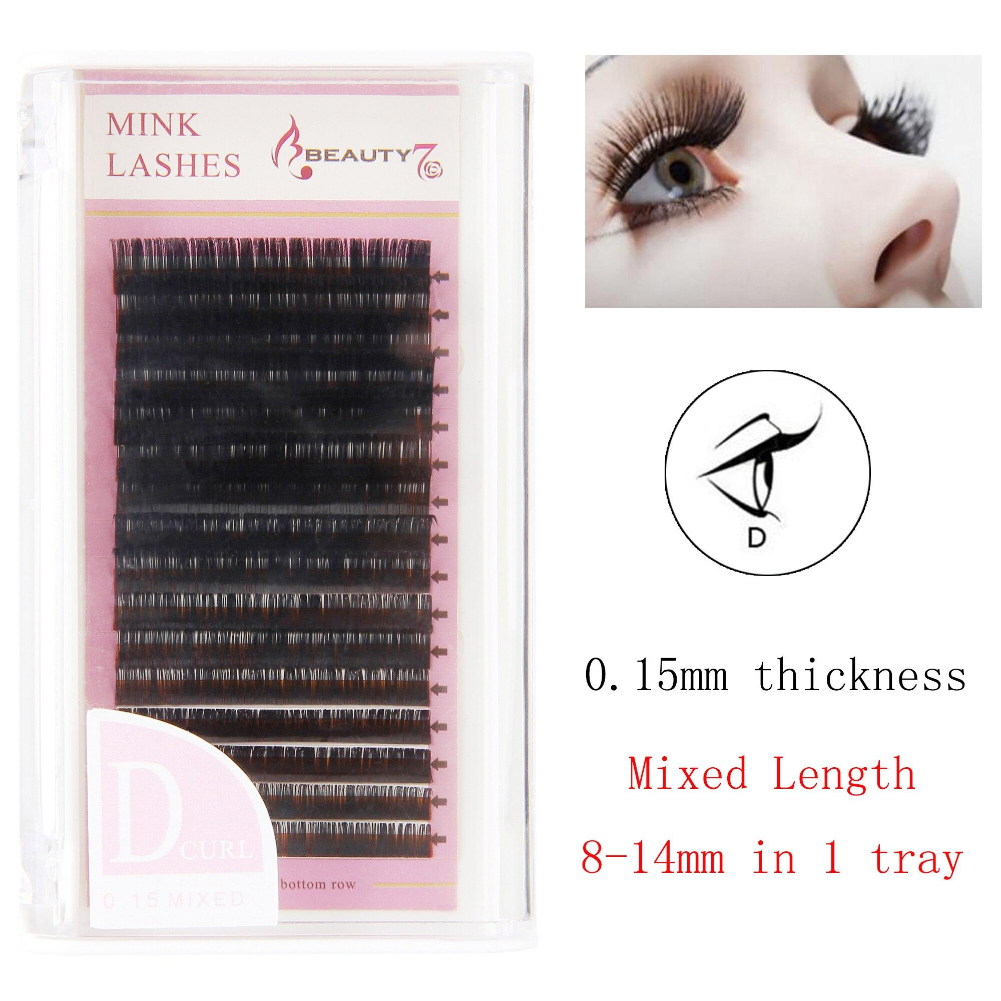 US $10 96 |BEAUTY7 1pcs D Curl 0 15mm*8 14mm Mixed Mink Eye Lashes  Individual Eyelash False Eyelashes Handmade Natural Eyelash Extension-in  False