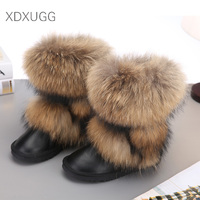 Women's Natural Real Fox Fur Snow Boots 100% Genuine Leather women Boots Female Winter Shoes XDXUGG Brand