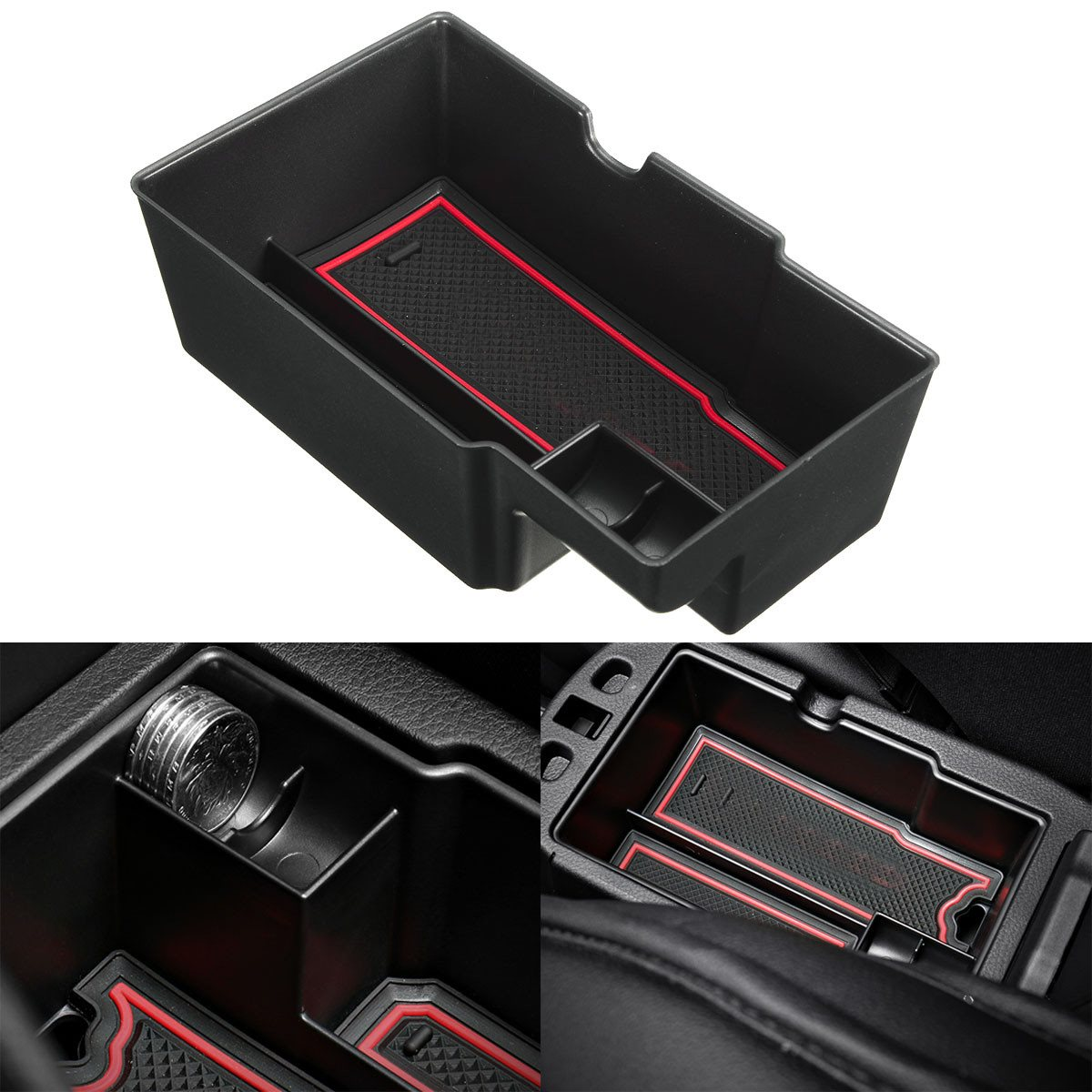 black car central console armrest storage box holder for jeep renegade 2015 2017 in armrests. Black Bedroom Furniture Sets. Home Design Ideas