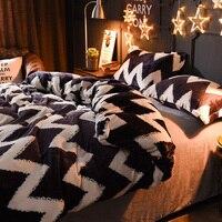 PanlongHome European American Style Nordic Simple Coral Velvet Flannel Bedding Set
