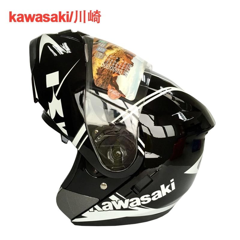 Kawasaki marque Moto Plein Visage Casques Double Lentille Casque Racing Casco Capacete