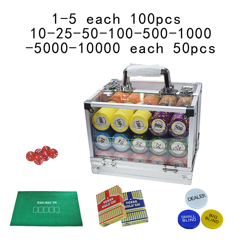 600/1000pcs/set Las Vegas clay Poker Chip Sets Casino Clay chips Pokers Set Metal Coins with Acrylic Box/Tray <font><b>LasVegas</b></font> image