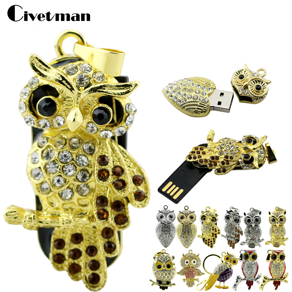 Animal USB Flash Drive Metal Diamond Owl Pendrive Nighthawk Pen Drive 4GB 8GB 16GB 32GB 64GB USB Memory Stick Gift With Necklace