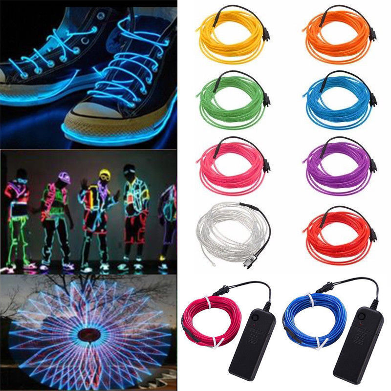 EL Wire 1M 2M 3M 5M Neon cord novelty Lights LED Lamp Flexible Rope Tube rope For Party Decor Car Decoration With Controller 1m 2m 3m 5m flexible waterproof led strip light neon light glow el wire rope tube cable eu power plug for party home decoration