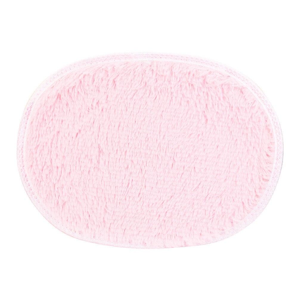 30*40cm Oval Toilet Mat Anti Skid Fluffy Shaggy Area Rug