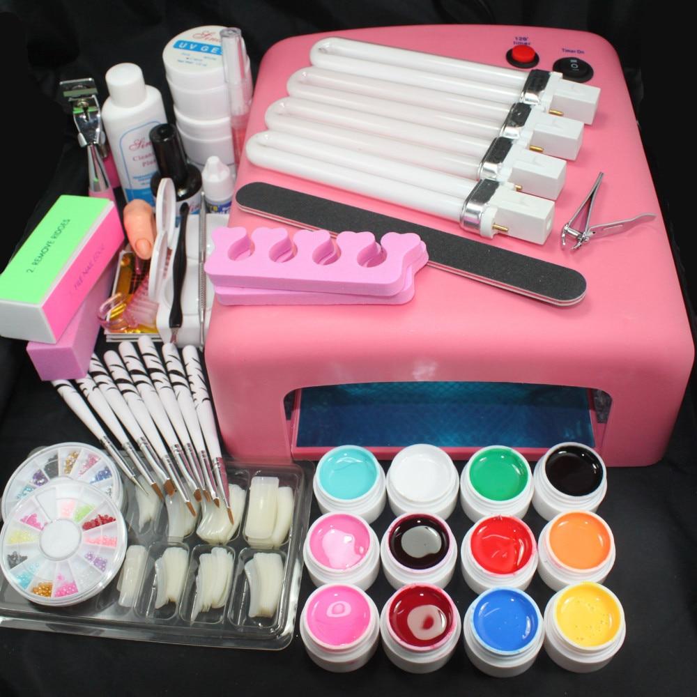 ФОТО Pro 36W UV GEL Pink Lamp & 12 Color UV Gel Practice Fingers Cutter Nail Art DIY Tool Kits Sets Gel Nail Kits With Lamp 34205