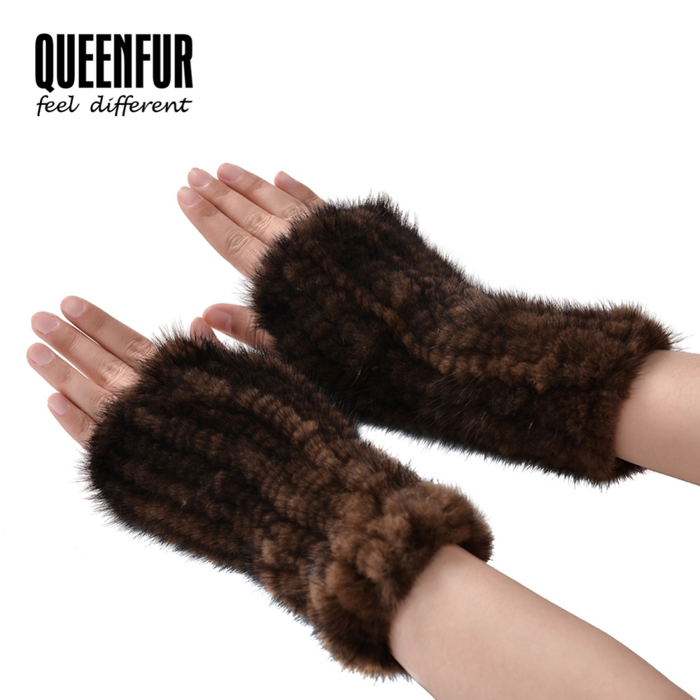 Mens novelty gloves - 2016 New Arrival Novelty Fingerless Gloves Natural Real Mink Fur Fashion Unisex Glove Length 20cm Solid