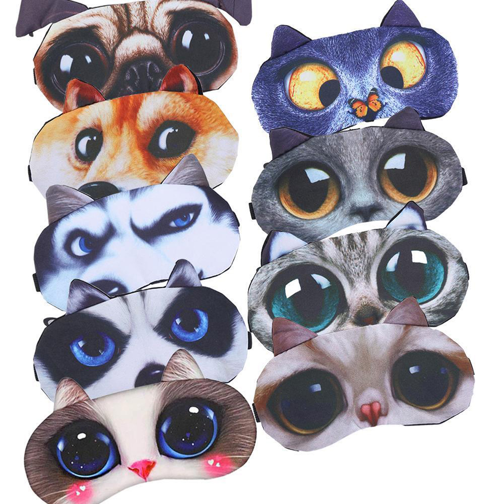 Cute Cat Sleep Mask Eye Mask Eyeshade Cover Shade Natural Sleeping Eye Patch Women Men Soft Portable Blindfold Travel Eyepatch