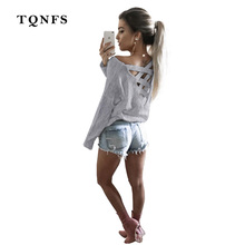 TQNFS New 2017 Sexy Back Bandage T-shirt Women Patchwork T Shirt Full Sleeve Hollow Out Tshirt Women Tops Tee Clothes