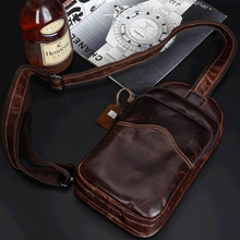 Men's casual chest pack Genuine Leather Wax oil Shoulder Bags Travel Messenger Bag Retro