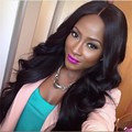 Mimi hair Cheap Glueless synthetic lace front wig Natural Black Long Body Wave Side Part Synthetic Wigs For Black Women