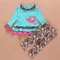 Europea de la ropa del bebé elefantes bordado de manga larga camiseta + impresión de la flor pantalones sistema del bebé 9-24 meses