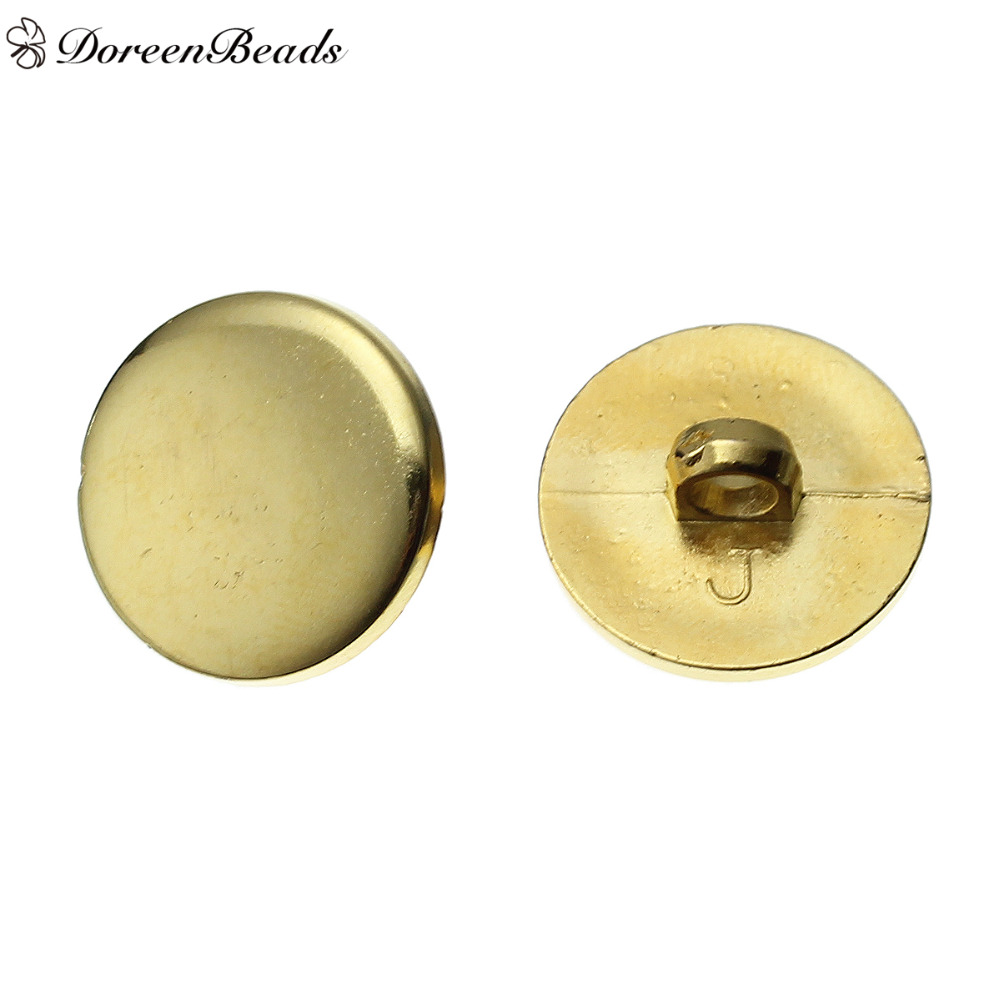 20 x 12 mm Gold Shimmer Plastic Buttons with a Rear Shank