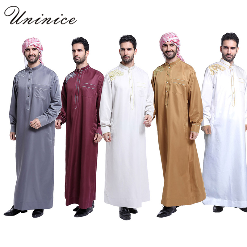 Muslim Men's Thobe Fashion Turkey Abaya Arabic Men's Clothing Pakistan Dubai Thobe Daffah Dishdasha Islamic Prayer Clothing