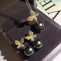 925 Silver Pearl Pendant and Earrings Component and Findings, Jewelry Set Mounts Settings Mountings Parts, Nice Gift for Women