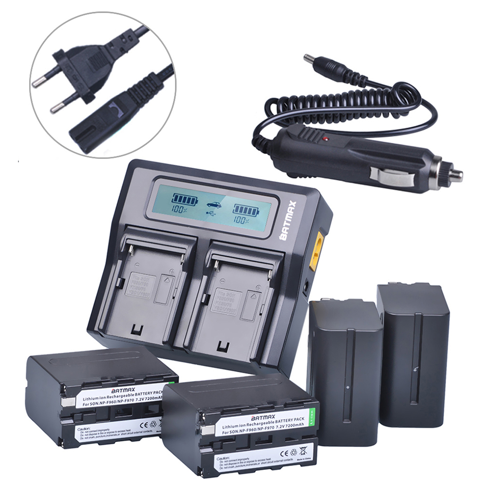 4Pc 7200mAh NP-F960 NP-F970 F970 Battery Packs+ LCD Ultra Fast Dual Charger Plug Kits for Sony NP-F550 NP-F770 NP-F750 F960 F970 np f960 f970 6600mah battery for np f930 f950 f330 f550 f570 f750 f770 sony camera
