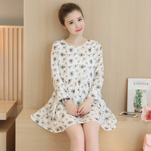 Autumn new maternity clothes Sweet round collar fold floral chiffon pregnant women dress Free shipping