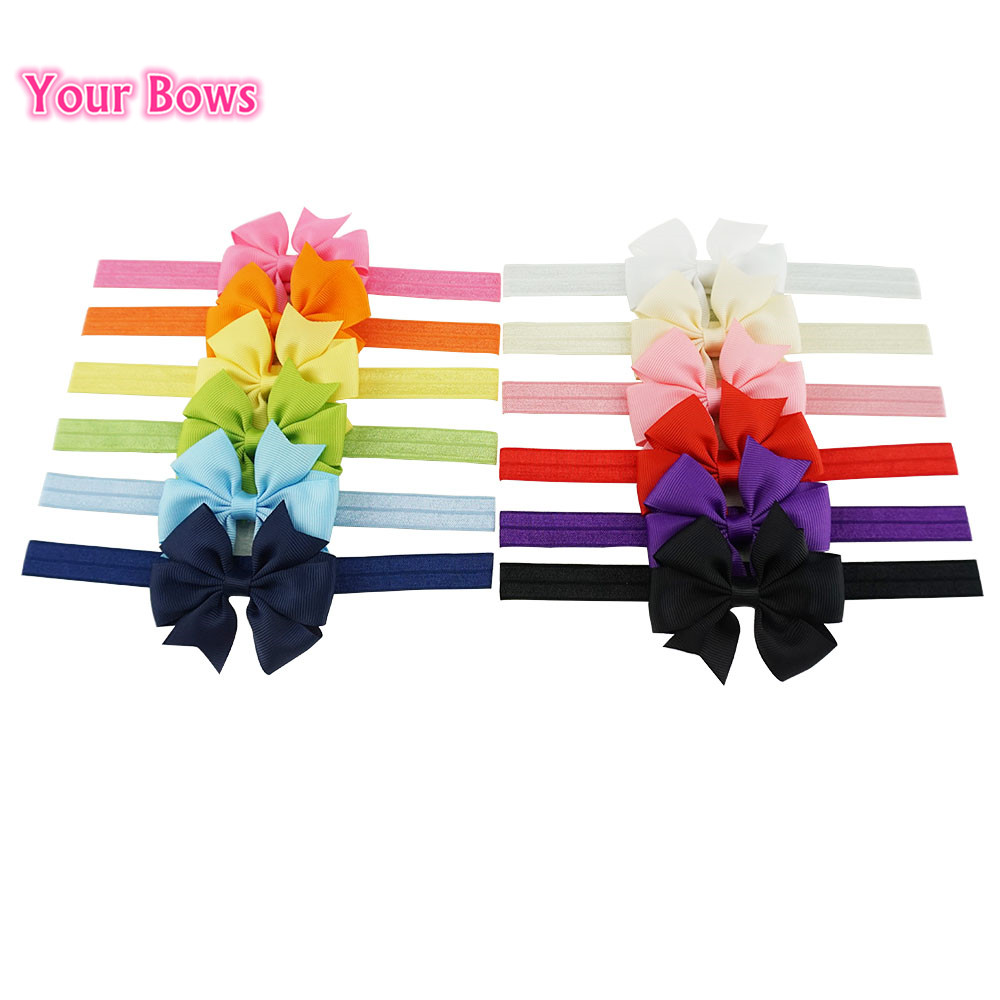 Your Bows 2Pcs/Lot 12 Colors Girls Headband Newborn Headwear Cute Elastic Hair bands Girls Hair Accessories metting joura vintage bohemian ethnic tribal flower print stone handmade elastic headband hair band design hair accessories